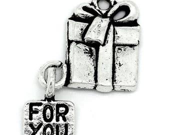 Anhänger Charm Form Grund 'FOR YOU' 26x16mm Geschenk-box