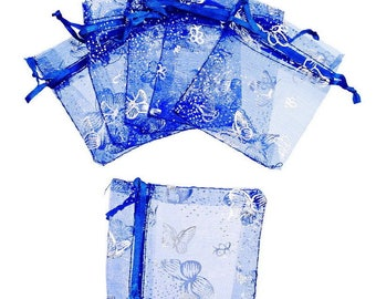 1 sachet Butterfly party dark blue Organza gift pouch