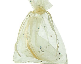 1 sachet Party 9.7cmx12cm sequin Organza gift bag