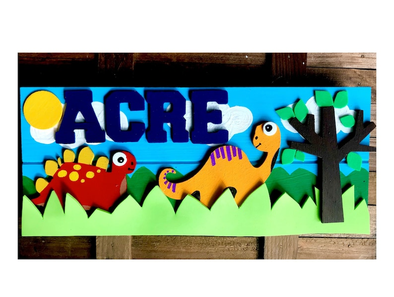 Dinosaur Hand Painted Wooden Kids Name Plate, Toddler Boys Name Plate, Boys  Room, Door Sign, Boy Name Sign, Name Plaque; Boys Birthday Gift