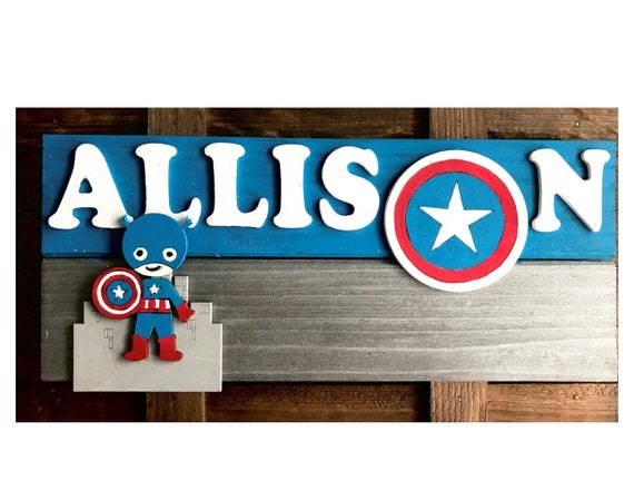 Personalised Any Name Avengers Printed Wall Door Plaque Wooden Sign Gift 1