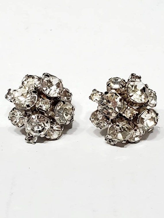 50s Chunky Rhinestone Earrings Clip Ons - Vintage