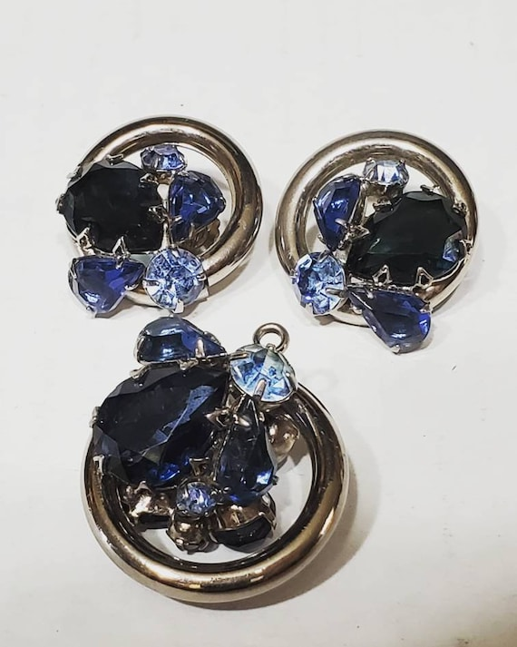 Chunky Vintage Earring and Pendant Set - 1950s Cos