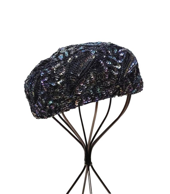 Vintage Sequined Pillbox Hat - 1950s Dressy Blue H