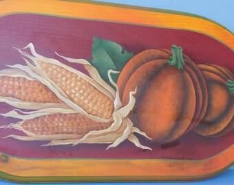 Pumpkin and corn hand-painted acrylic on wood