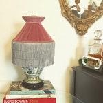 Pink Velvet Pleated Lampshade with triple tiered fringe