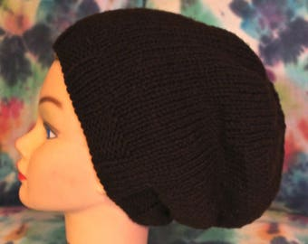 Super Slouch Brown Knit Hat