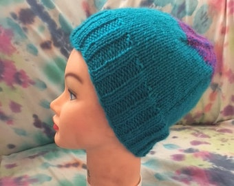 Blue and pink knitted hat