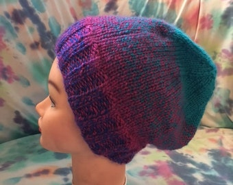 Pink and blue multicolored knit hat