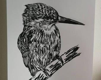 Black & White kingfisher lino cut print. A4 size. Original artwork.