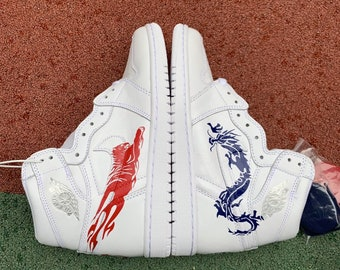b76fb9736a7 Nike air jordan 1 tiger dragon custom pairs