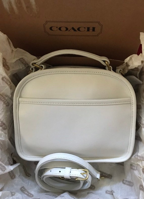 Coach Vintage White Leather Lunch Box Bag 9991