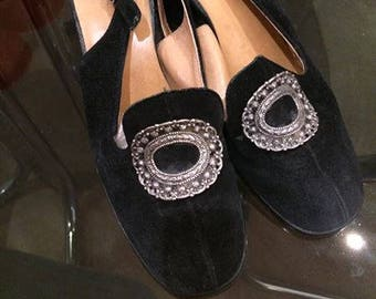 Vintage 60s Suede Black Shoes