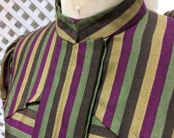 Vintage 70s DOES 40s STRIPED DRESS