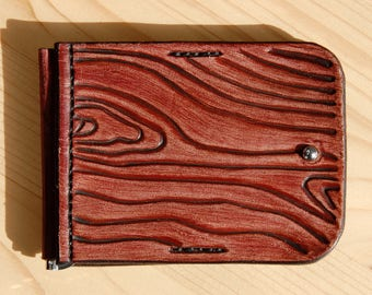 Wood texture leather money clip. Free shipping.