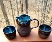 Pitcher and tumbler set, handmade pottery, mug set, dark clay, pitcher, whiskey tumbler, wine tumbler