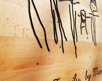 Engraved children's drawing wall art