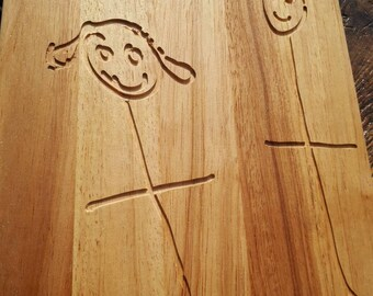 Children's drawing engraved chopping board