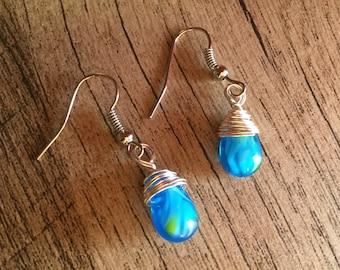 Czech Glass Teardrop Wirewrapped Earrings