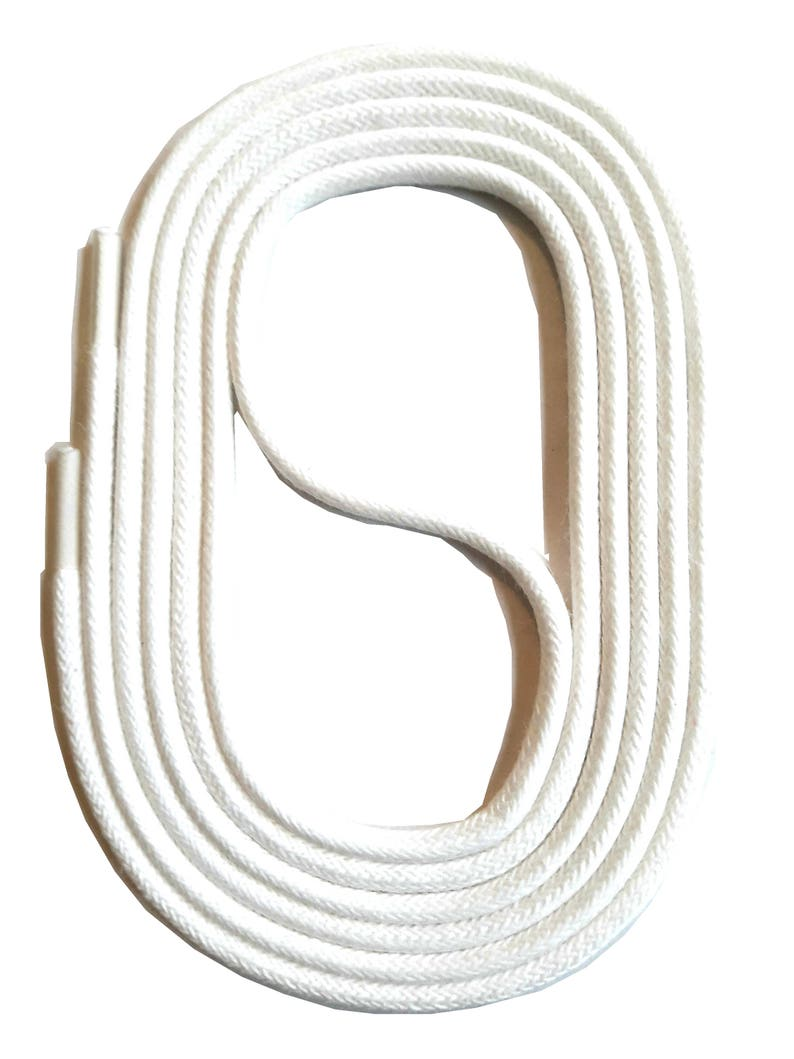 SNORS 2-3 mm WAXED round LACES white 3 lengths lace approx