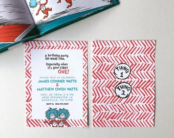 Dr Seuss Birthday Party Baby Shower Thing 1 2 One Two And