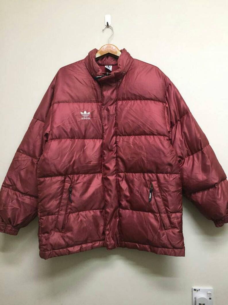 e9404e55cdd3b Puffer Jacket Adidas Trefoil Maroon Colour XL Size Jaspo Good Condition