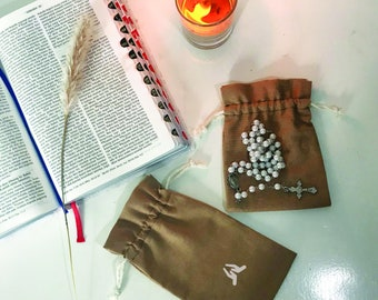 Brown Ramie Drawstring Pouch For Souvenir and Packaging