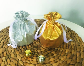 Silver and Gold Lame Drawstring Pouch; Souvenir and Packaging