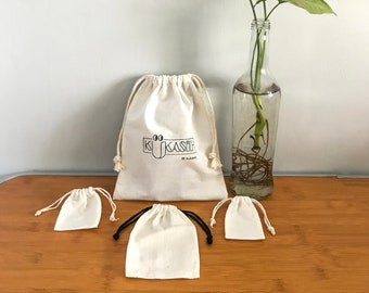 Customized Drawstring Pouch Calico Blacu White Cloth; Available brand logo; Souvenir and Packaging