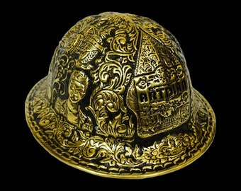 Custom Made Brass Hammered Hand Carved Full Brim Hard Hat