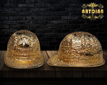 Custom Brass Hammered Hard Hats Hand Carved Helmet