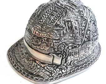 Hand Carved Aluminum Hard Hat