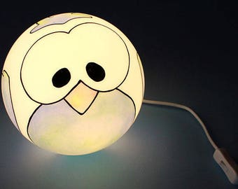 Owl: round glass lamp