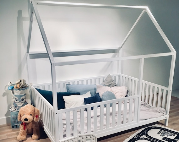 US FULL Size Montessori toddler beds Frame bed House bed house Wood house Kids teepee Baby bed Nursery bed Children furniture