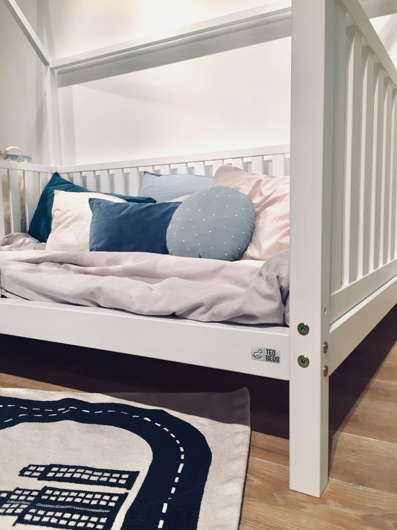 Birch Hardwood BED FULL/ DOUBLE Montessori toddler beds Frame bed House bed house Wood house  Nursery bed Children furniture