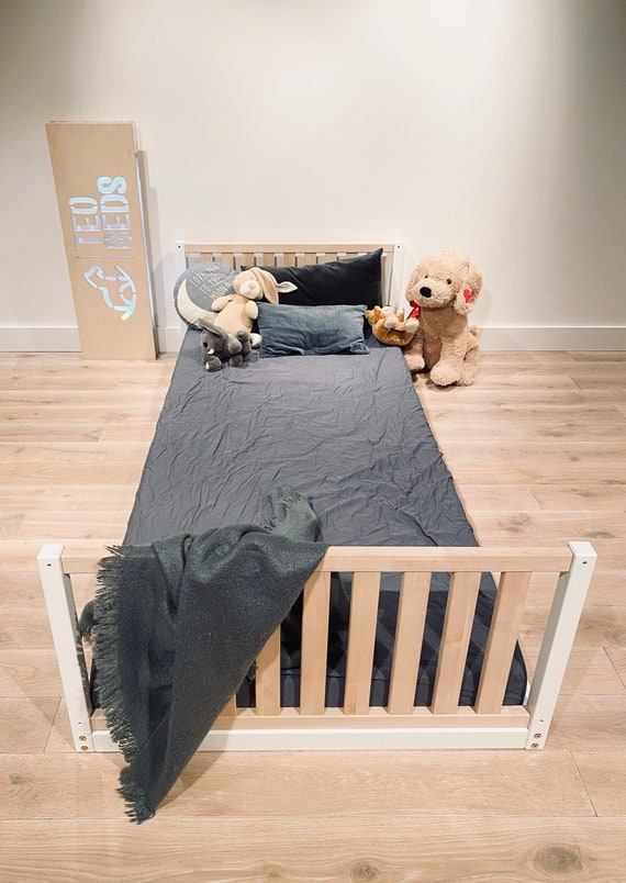 Durable US Twin size 39x75 Toddler bed Play bed frame Children bed Bunk bed Wood Floor bed Wooden bed Wood Montessori bed Gift, Bed frame
