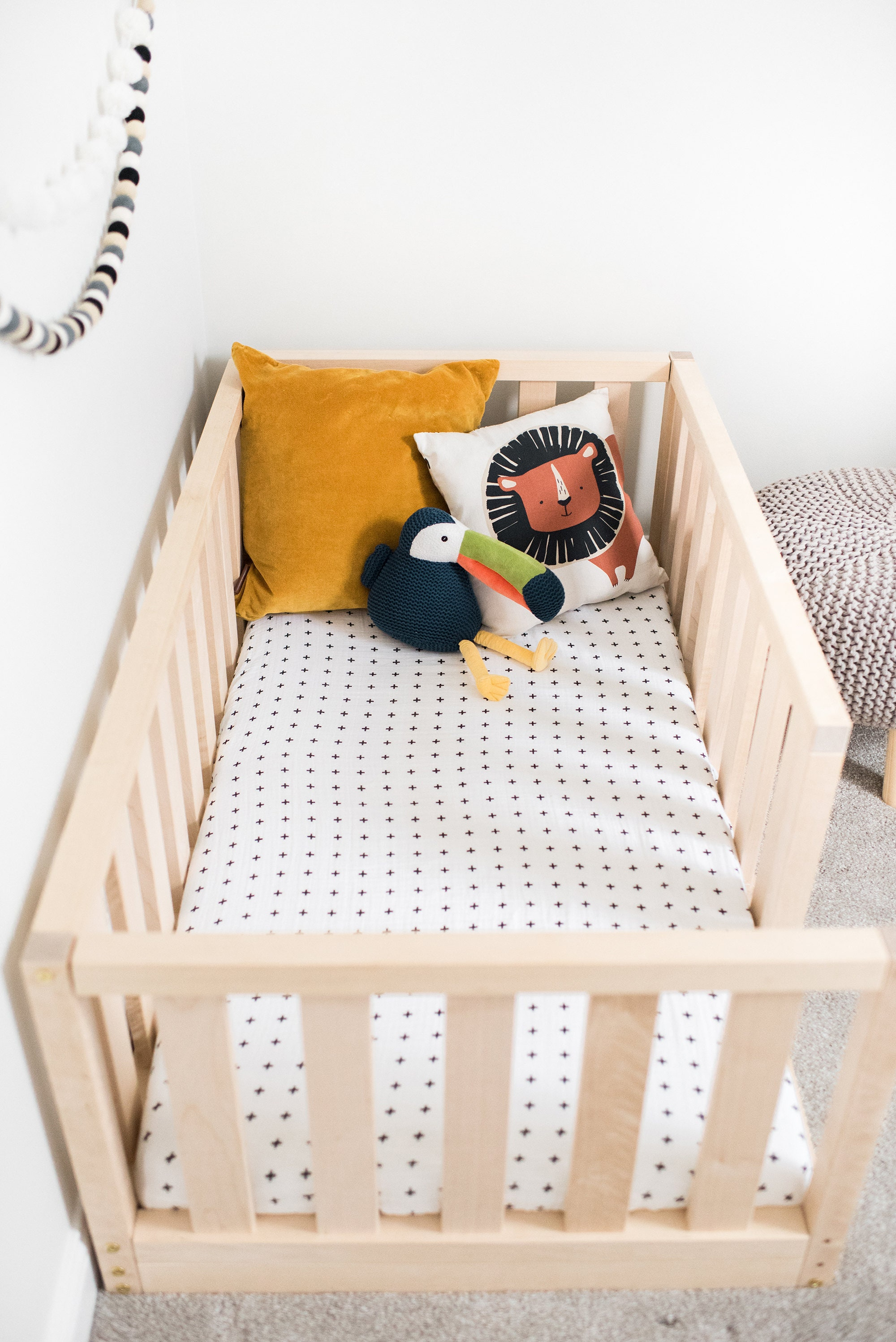 Durable New Us Crib Size Toddler Bed Play Bed Frame Children Bed Bunk Bed Wood Floor Bed Wooden Bed Wood Montessori Bed Gift Bed Frame