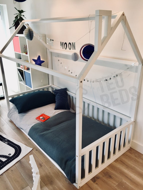 """Durable New US Queen Size 60x80"""" Montessori toddler beds Frame bed House bed house Wood house  Baby bed Nursery bed Children furniture"""