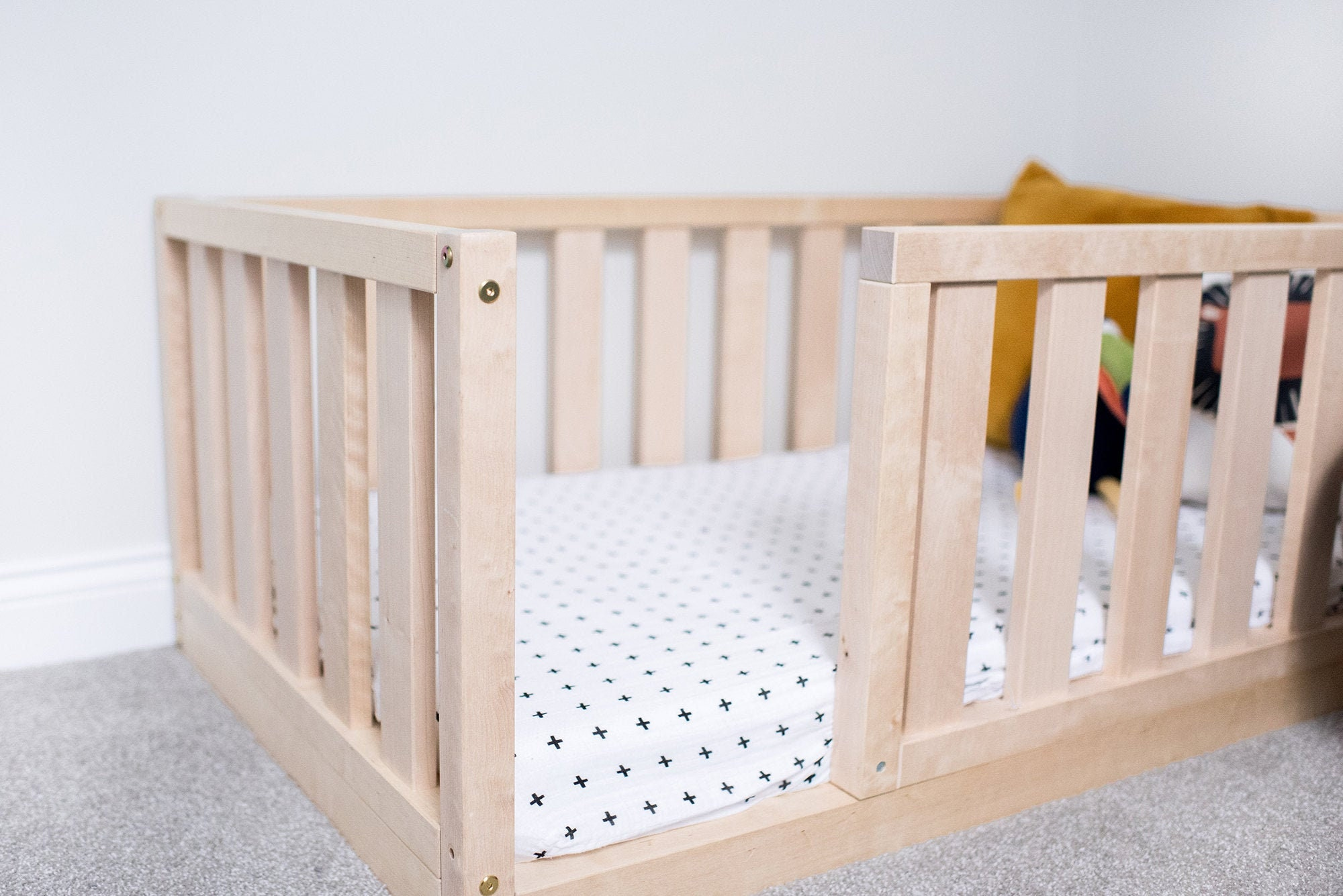 Picture of: Durable New Us Crib Size Toddler Bed Play Bed Frame Children Bed Bunk Bed Wood Floor Bed Wooden Bed Wood Montessori Bed Gift Bed Frame