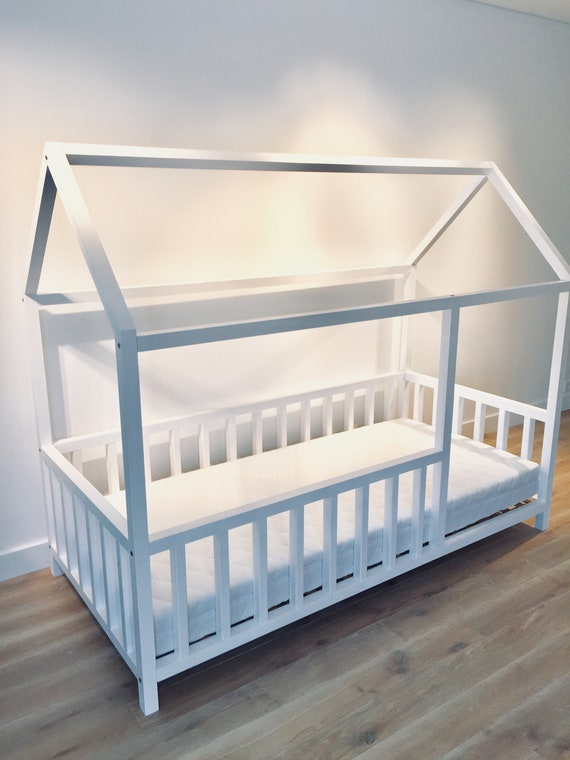 Birch Hardwood BED Toddler bed, house, bed frame, children bed, wood house, floor bed, teepee bed, wooden bed, wood house