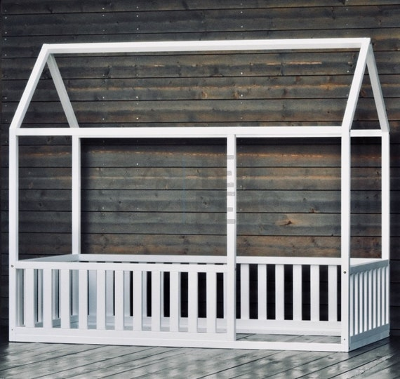 """EXPRESS SHIPPING 53x75"""" (Ready to go in 24h!) Toddler bed House shaped bed Nursery wood house bed home, bed frame"""