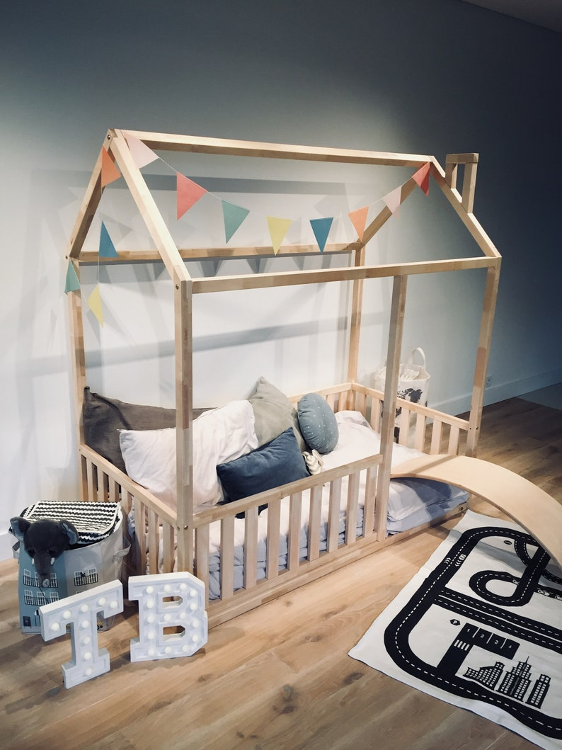 King Queen Size Toddler Bed Play House Bed Frame Children Bed Bunk Bed Floor Bed Teepee Bed Wooden Bed Wood House Montessori Bed