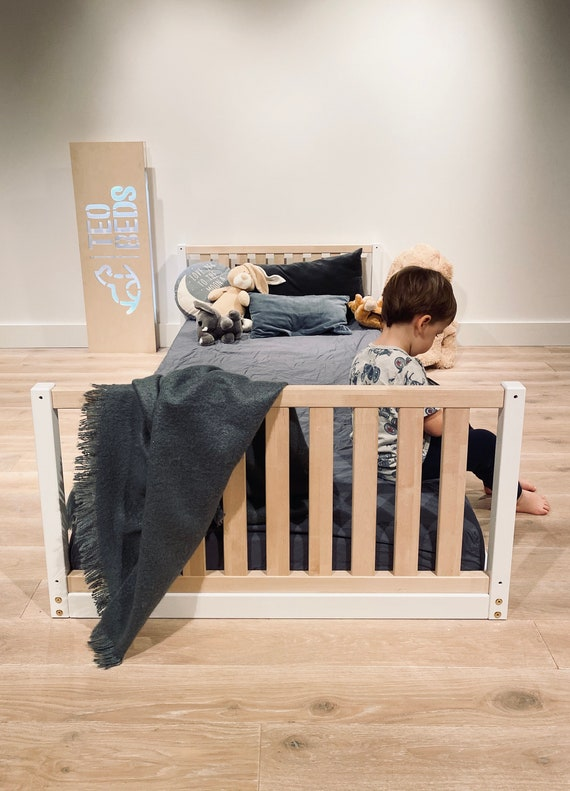 US Twin size 39x75 Toddler bed Play bed frame Children bed Bunk bed Wood Floor bed Wooden bed Wood Montessori bed Gift, Bed frame