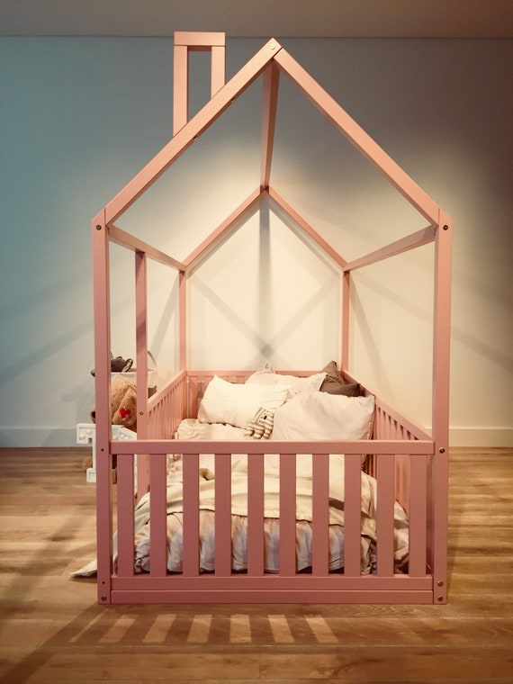 PINK Toddler bed FULL/ DOUBLE size, Children bed, House frame bed, Baby bed, Montessori play tent, Home bed, Nursery crib Teepee