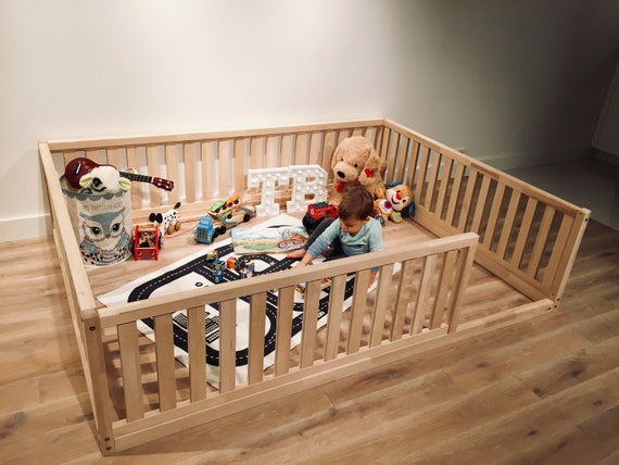 Durable Birch Hardwood BED Kid's playpen, Natural wood, Toddler playground, kids play, montessori furniture, Bed frame