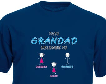 This Grandad belongs to... customisable t-shirt. Perfect for Father's Day, Birthday, Christmas or a Gift.