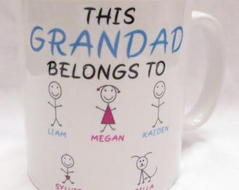 This Grandad belongs to... customisable Mug. Perfect for Father's Day, Birthday, Christmas or a Gift.