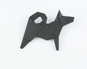 PORCELAIN  BROOCH DOG/Black porcelain/Porcelain origami/Origami pin/Origami brooch/Porcelain pin/Japaneese origami/Porcelain dog