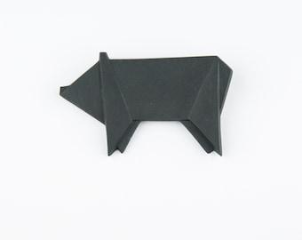 PORCELAIN  BROOCH PIG/Black porcelain/Porcelain origami/Origami pin/Origami brooch/Porcelain pin/Japaneese origami/Porcelain pig