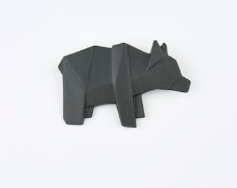 PORCELAIN  BROOCH BEAR/Black porcelain/Porcelain origami/Origami pin/Origami brooch/Porcelain pin/Japaneese origami/Origami bear